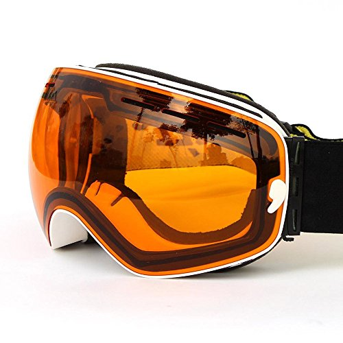 ABlevel Ski Goggles with Detachable Wide Vision Double Lens Anti-fog Extra-large Spherical Lens Snow Multicolor Professional Mountain Climbing Gear Helmet Compatible Unisex - Cyber Sunglasses Electric Monday