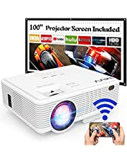 $84 » MVV Upgraded 1080P WiFi Projector, [180ANSI--Over 6500 Lux] Outdoor Projector with 100'' Screen Mini Portable Projector Synchronize Smartphone Screen Compatible with TV Stick HDMI USB AV
