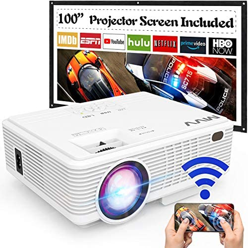 MVV Upgraded 1080P WiFi Projector, [180ANSI–Over 6500 Lux] Outdoor Projector with 100'' Screen Mini Portable Projector Synchronize Smartphone Screen Compatible with TV Stick HDMI USB AV