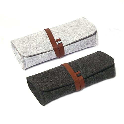 - Felt Eyeglass Case, 2 Pack Ultra Light Roll Up Sunglasses Pouch for Small Medium Large Sized Glasses Pencil Storage Bag (Black+Grey)