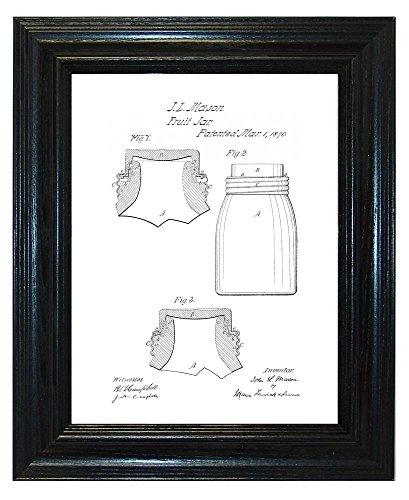 "Mason Fruit Jar Patent Art White Matte Print in a Deep Black Wood Frame (8.5"" x 11"")"
