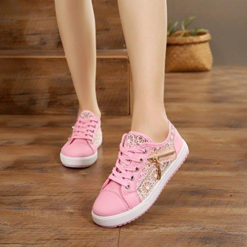 de Estudiante lona GTVERNH rosa Zapatos Malla Malla Verano transpirable de Base mujer Plana Zapatos BHTH5