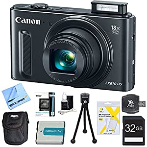 """PowerShot SX610 HS 20.2 MP Digital Camera 18x Zoom 3-inch LCD Black 32GB Super Bundle - Includes 32GB SD Memory Card, 1150mah Battery Pack, Hi-Speed SD USB 2.0 Card Reader, Deluxe Carrying Case, 5"""" Flexible Mini Tripod, Memory Card Wallet, 3pc. Lens Clean"""