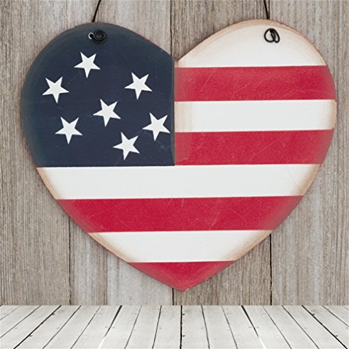 und For Retro I love USA Sign on Weathered Wood Photography Backdrop Heart Shaped American Flag Patriotic Freedom USA holiday Stars and Stripes Photo Studio Props Vinyl Wallpaper (Traditional Stripe Wallpaper)