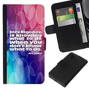 """Be-Star la tarjeta de Cr¨¦dito Slots PU Funda de cuero Monedero caso cubierta de piel Para LG Nexus 5 D820 D821 ( Acciones de inteligencia Saber Cita Vida"""" )"""