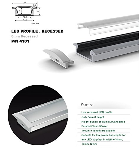 Aluminum Channel - LED Aluminum Extrusion 4101-100 U-shape for Flex/hard LED Strip Light White/milk Cover
