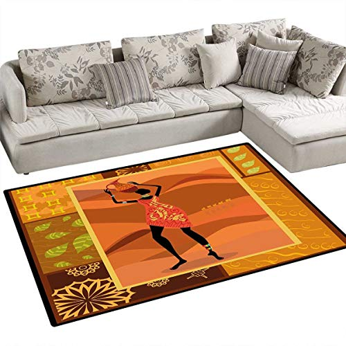 African Woman Area Rugs for Bedroom Frame with Natural Autumn Elements Native Girl with Vase Exotic Zulu Print Door Mats for Inside Non Slip Backing 48