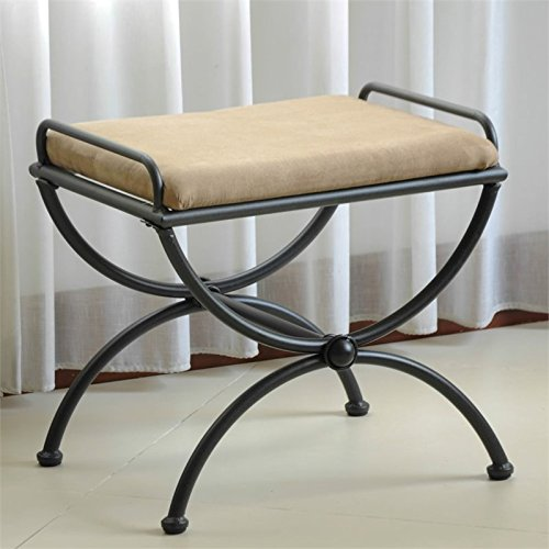 Contemporary Vanity Bench (Contemporary Vanity Stool with Microsuede Cushion)