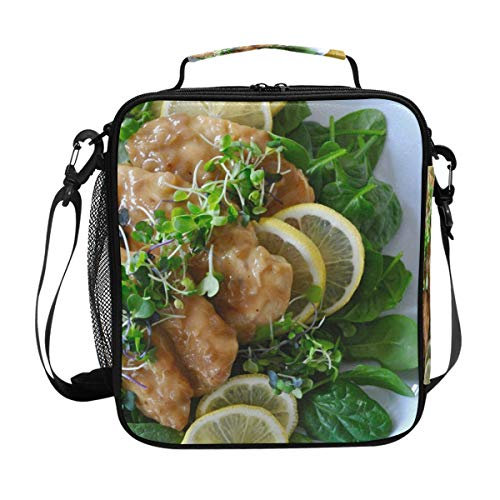 Unspecified 1 Chicken Entree Recipes Sofa Lemon Lunch Bag with Zip Closure Insulated Lunch Box Tote Bag For Kids,Adults,School,Office from NWTSPY