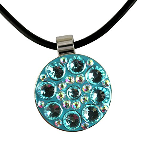 Beautiful Crystal Golf Ball Marker with Magnetic Leather Necklace (Blue)