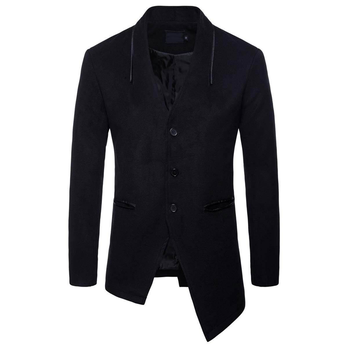 Black Aowofs Men's Peacoat Irregular Hem Blend Single-Breasted Coat V-Neck Slim Business Blazer