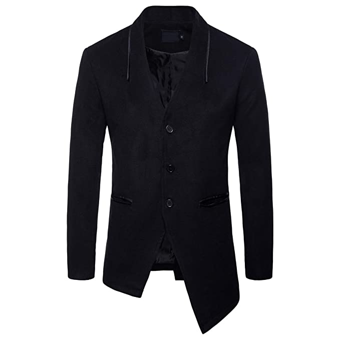 limpid in sight discount collection comfortable feel AOWOFS Men's Peacoat Suit Jacket Single-Breasted Irregular ...