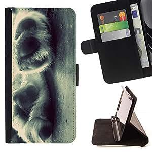 Momo Phone Case / Flip Funda de Cuero Case Cover - Puppy Paws Blanco Negro Canino; - HTC DESIRE 816