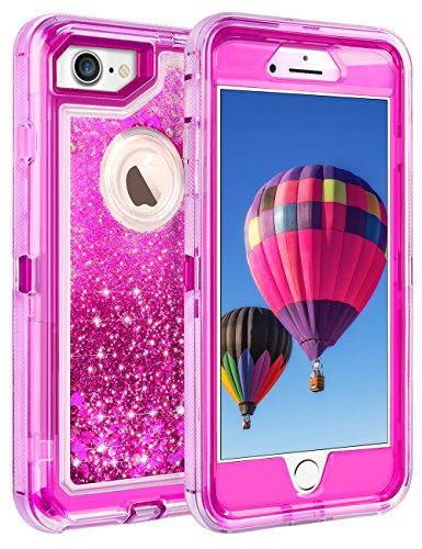 """Coolden 3D Glitter Case for iPhone 8/7(NOT Plus), Floating Quicksand Liquid Shell Clear Cover Dual Layer Shockproof Bumper Impact Resistant Anti-Drop Skin for 4.7"""" Apple iPhone 7/8, Rose"""