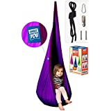 Amazeyou Kids Swing Hammock Pod Chair - Child's Rope Hanging Sensory Seat Nest for Indoor and Outdoor Use - Great for Children , All Accessories Included (Nook Purple)