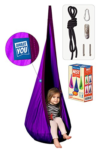 AMAZEYOU Kids Swing Hammock Pod Chair - Child's Rope Hanging Sensory Seat Nest Indoor Outdoor Use Inflatable Pillow - Great Children, All Accessories Included ()