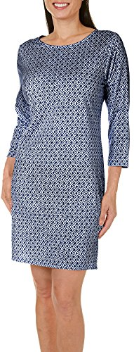 caribbean-joe-womens-geo-printed-shift-dress-large-blue