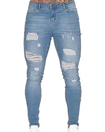 b722be303561 ShiFan Pantalon A Trou Homme Moulant Extensible Stretch Jean Taille Haute   Amazon.fr  Vêtements et accessoires
