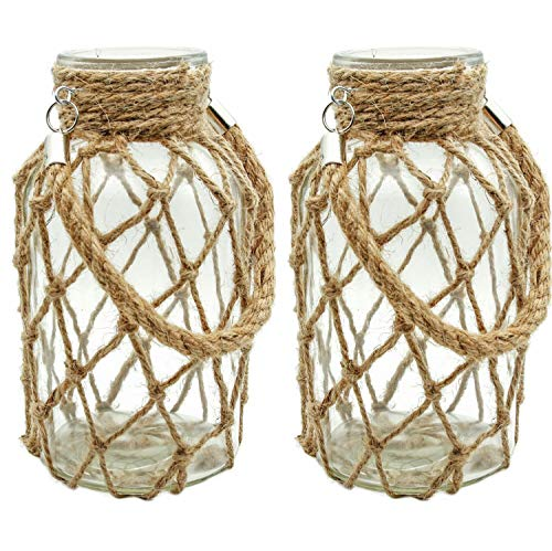 (Funsoba Rustic Hanging Mason Jar Creative Rope Net Dry Flower Glass Vase with Handle Pack of 2 (2 Vase 8