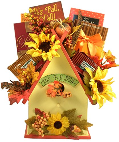 - Gift Basket Village - A Fall Re-Tweet, Birdhouse Gift Basket With Fall Themed Gourmet Snacks