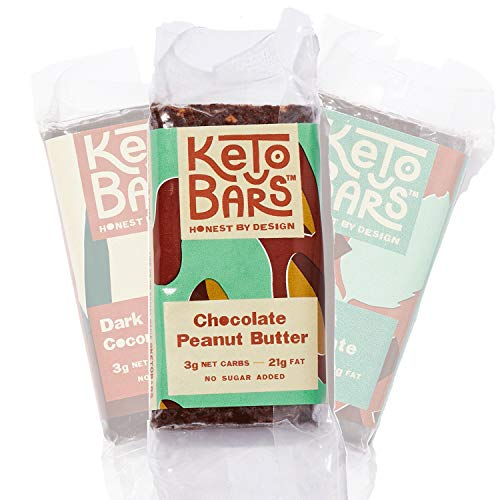 KETO BARS [10 Pack]: 3g Net Carbs | 21g Fat | The Original. The Best. High Fat, Low Carb, Chocolate Keto Bar. Simple Ingredients, Gluten Free, Vegan. (Chocolate Peanut Butter) ()