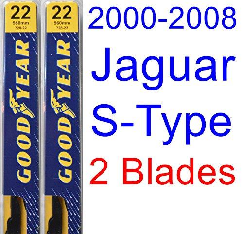 2000-2008 Jaguar S-Type Replacement Wiper Blade Set/Kit (Set of 2 Blades) (Goodyear Wiper Blades-Premium) (2001,2002,2003,2004,2005,2006,2007) by Goodyear Wiper Blades