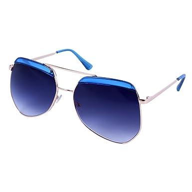 Damara Femme Lunettes De Soleil Mode M¨¦tal Verre Effet Miroir Aviateur,Monture Or/Verre Bleu