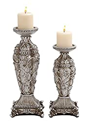 Deco 79 Polystone Candle Holder, 6 by 16-Inch, Set of 2