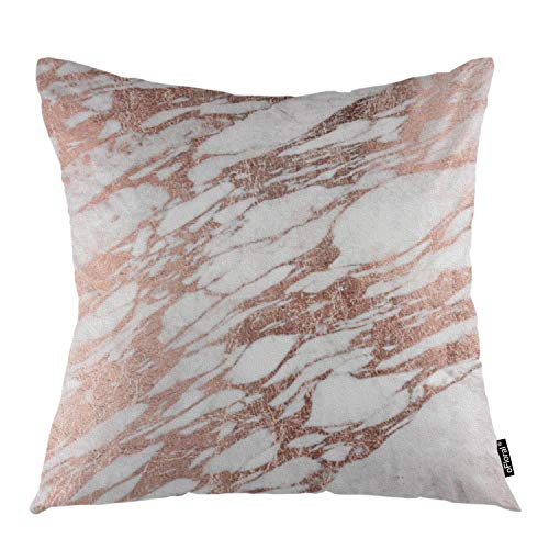 oFloral Marble Throw Pillow Covers Rose Gold Rock Stone Surface Natural Marble Slab Decorative Square Pillow Case 18