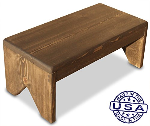 S.B. Handmade - Solid Wood Step Stool, 250 Pound Capacity, Hand Made in U.S.A. (18'' wide x 8'' tall, Ebony) by www.cutstepstools.com (Image #1)