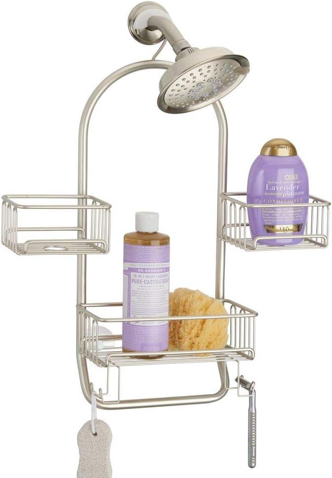 mDesign Estantería para ducha colgante – Práctica estantería de baño en metal resistente para colgar sin taladrar – 3 baldas para baño para guardar accesorios, con 4 ganchos y toallero – plateado mate