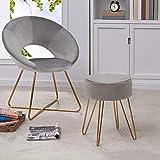 Duhome Modern Ottoman,Velvet Seat Contemporary