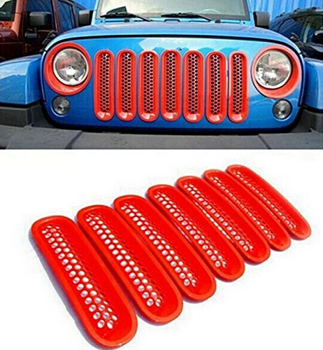 jeep jk red grill inserts - 7