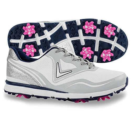 Callaway Women's Halo Golf Shoe, White/Navy, 7.5 B B US