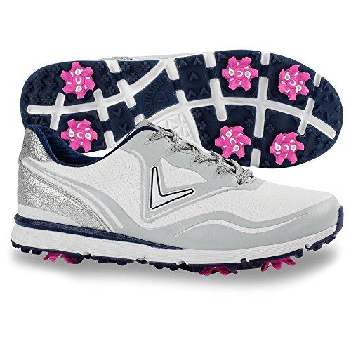 Callaway Women's Halo Golf Shoe, White/Navy, 8 B B US
