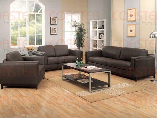 - Metro Contemporary Living Sofa Set 100% all Leather,Sofa+Loveseat