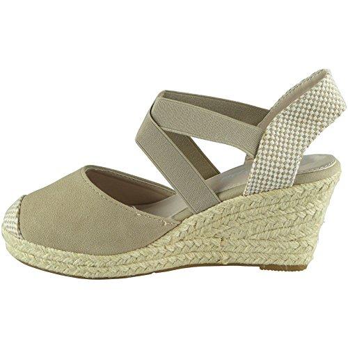 Kvinners Espadrilles Kile 8 Sandal 3 Look Strie Beige Platåsko Loud Størrelse Damene Elastisk Stropp FHYxwq