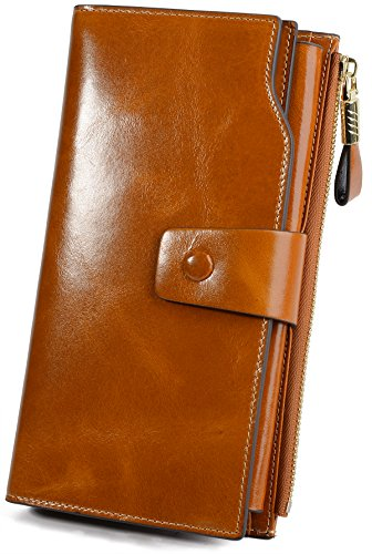 YALUXE Women's Wax Genuine Leather RFID Blocking Large Capacity Luxury Clutch Wallet Card Holder Organizer Ladies Purse Wallets for women brown - Leather Tri Fold Handbag