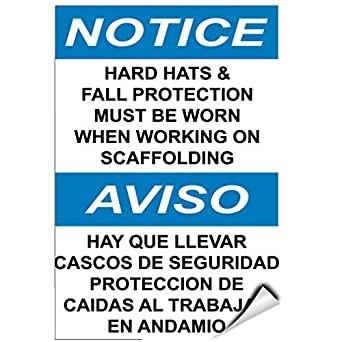 Notice Hard Hats & Fall Protection Must Need When Working Label Decal Sticker Vinyl Label 10 X 14 Inches: Amazon.com: Industrial & Scientific