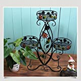 Colorful Metal Flower Pot Stand 3 Tier Iron Plant Stands Indoor Outdoor Flower Patio Display Shelf Storage Rack ( Color : Style 4 )
