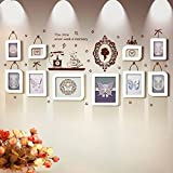 GuoEY Photo Wall 10 Box White European Style Smart Fashion Wall Stickers Combination Frame Creative Personality Wedding DIY Wild Living Room Dining Room Bedroom Frame Wall