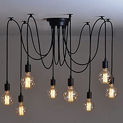 Lemonbest Vintage E27 Industrial Fixture Retro Pendant Light Ceiling Lamp Chandelier 8 Bulb Light Sockets