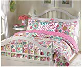 3 Piece Queen Girls Bed Quilt Set with Vibrant Flower Print. Machine Washable Microfiber Easy to Care For. Perfect in a Teen's Bedroom.
