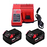 2Packs Replace 18V 5000mAh for Milwaukee Tools battery and M18 Lithium-ion Battery Charger for Milwaukee
