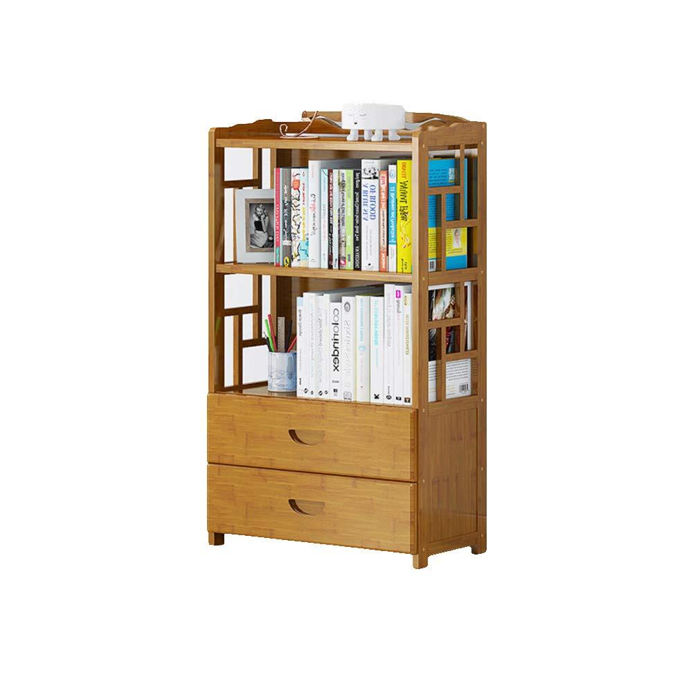 B 52X25X99cm Bamboo Drawer Vintage Bookcase, Multi-Layer Floor-Standing Bookshelf Student Living Room Storage Rack Wood Shelves-E 70X25X99cm