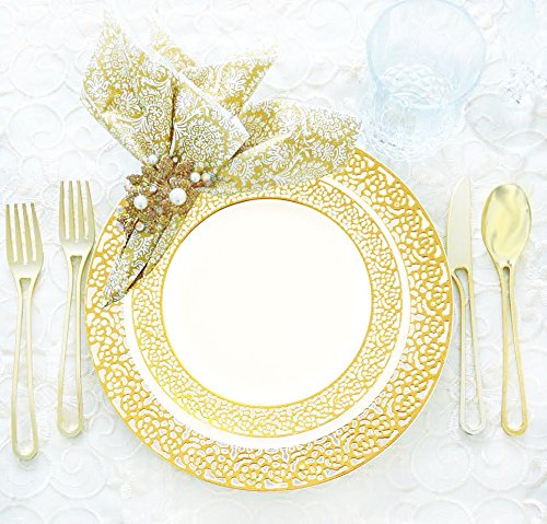 Royalty Settings Gold Inspiration Collection Lace Plastic Plates And Gold Cutlery Party Package For 40 Persons  Includes 40 Lace Dinner Plates  40 Lace Salad Plates  80 Forks  40 Knives  40 Spoons