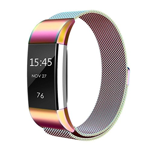 Fitbit Charge 2 Bands Metal ,Teorder Replacement Band/Fitness Accessory Sport Strap for Fitbit Charge 2/Fitbit Charge 2 HR, Adjustable Stainless Steel Milanese with Unique Magnet Clasp Small,Colorful