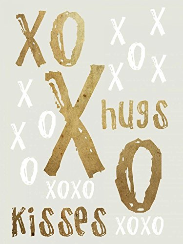Hugs and Kisses Gold Poster Print by Sheldon Lewis (9 x 12)