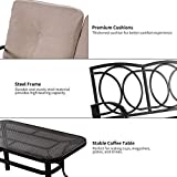 Giantex 2 Pcs Patio Loveseat with Coffee Table
