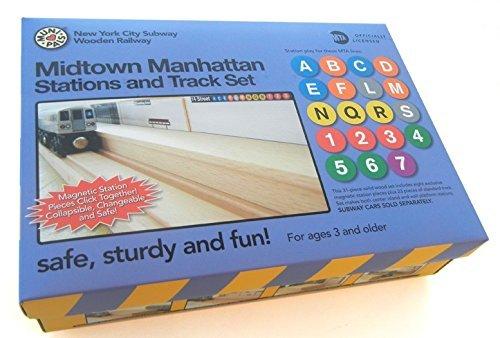Munipals Midtown Manhattan Wooden 23 Piece Train Station and Track Set (F Train)